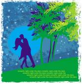 Couple kissing - Abstract card with the tropics in the backgroun — Stockvector