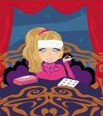 Sick girl lying in bed  — Stock Vector
