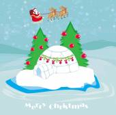 Christmas igloo at the evening — Stock Vector