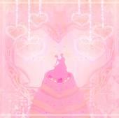 Diseño de la tarjeta de pastel de boda — Foto de Stock