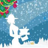 Abstract card - winter shopping — Stock Vector