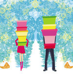 Couple on shopping - Winter SALES  — Stock Vector