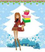Christmas shopping on a snowy day  — Stock Vector