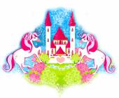 Card with a cute unicorns and fairy-tale princess castle — Stock Photo