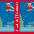 Winter card with cute owl , find the differences — Vecteur #60381137