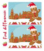 Find differences -  Gingerbread santa — Stock Vector