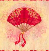 Decorative Chinese landscape on a beautiful fan — Stock Photo