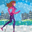 Nordic walking - active woman exercising in winter — Stock Vector #61231525