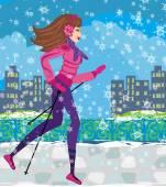 Скандинавская ходьба - активная женщина, осуществлять в зимний период — Cтоковый вектор