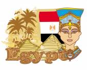 Egyptian queen cleopatra on the background of the flag of Egypt — Stock Vector