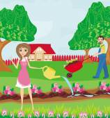 Primavera piantare fiori — Vettoriale Stock