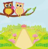 Owls in love , sweet card design.  — Stock Vector