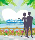 Couple on tropical — Stock Vector