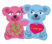 Bears in love , isolated illustration — ストックベクタ
