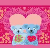 Cute Teddy bears couple — Stok Vektör
