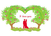 Silueta romantický pár — Stock vektor