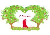 Silhouette of romantic couple — Stock Vector