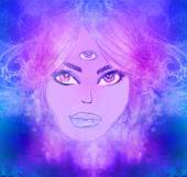 Woman with third eye, psychic supernatural senses  — Stock Photo