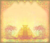 Mayan Pyramid, Chichen-Itza, Mexico - grunge abstract frame — Stock Photo