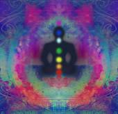 Yoga lotus pose. Padmasana with colored chakra points.  — Stock Photo