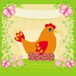 Background with easter eggs and one hen — Stock Vector #63205155