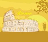 Couple silhouette in front of Colosseum in Rome — Stock Vector