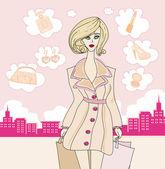 Stylish shopping girl  — Stock Vector