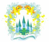 Fairy castle appearing from the book — Stock Vector