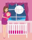 Krásná žena s úsměvem novorozené dítě — Stock vektor