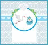 Baby Boy Card - A stork delivering a cute baby boy.  — Stock Vector