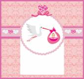 Baby girl Card - A stork delivering a cute baby girl.  — Stock Vector