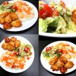 Chicken on a plate with rice and salad, set of 4 pictures — Stock Photo #65590301