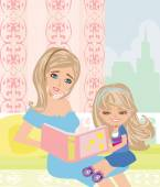 Mom reading a book to her kid  — Stock Vector