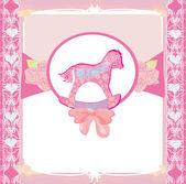 Cavalli a dondolo - bambino ragazza bambino doccia invito card — Vettoriale Stock