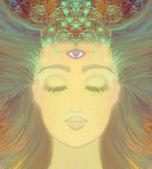 Woman with third eye, psychic supernatural senses  — Stock Photo