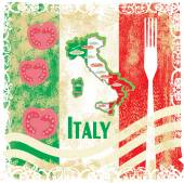 Italy travel grunge card with national italian food — Stock Vector