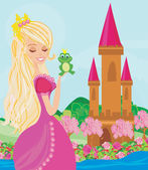 Beautiful young princess holding a big frog — Stock Vector