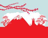 Card with Asian buildings and Mount Fuji. Fujiyama — Stok Vektör