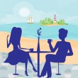 Romantic date on a tropical beach — Stock Vector #72503233