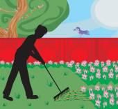 Man gardening in his garden — Stock Vector