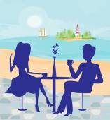 Romantic date on a tropical beach — Stock Vector