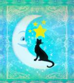 Cat sitting on the moon - abstract card — Foto de Stock