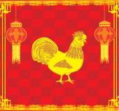 公鸡的一年 — 图库矢量图片