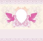 Scheda romantica con gli uccelli di amore - invito a nozze — Vettoriale Stock