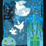 Halloween night background - haunted house — Stock Vector #76617977