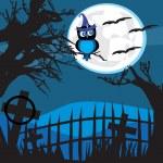 Halloween illustration owl on moon background. — Stock Vector #78642516