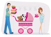 Beautiful pregnant woman and her husband on shopping — Stock Vector