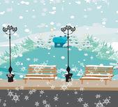 Winter City Park — Stock Vector