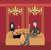 Romantic dinner in a restaurant — Stock Vector