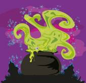 Cauldron with a boiling magic potion on an abstract background — Stock Vector